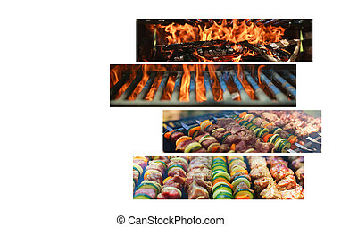 Grilled skewers with vegetables and meat in a herb marinade on a Collage of various meat products