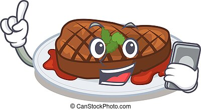 Grilled steak cartoon character speaking on phone. Vector ...