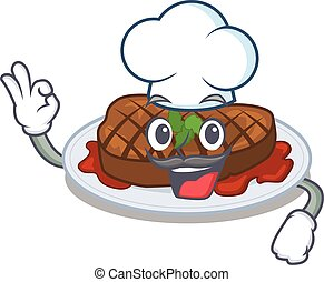 grilled steak chef cartoon design style wearing white hat. ...