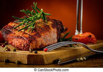 Grilled steak closeup