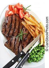 Grilled steak dinner