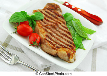 Grilled steak - Grilled New York beef steak served on a...