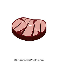 Grilled steak icon, flat style