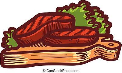 Grilled steak icon, hand drawn style