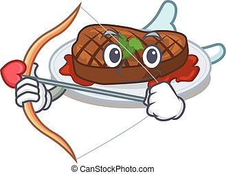 Grilled steak in cupid cartoon character with arrow and ...