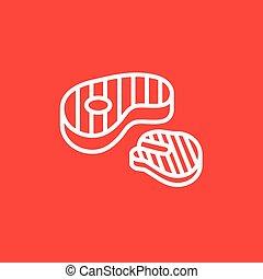 Grilled steak line icon.