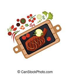 Grilled Steak on Plate. Vector Illustration
