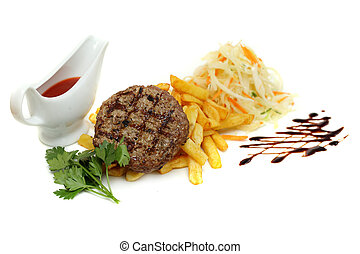 Grilled steak with fries