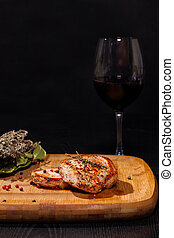 Grilled steak with glass red wine