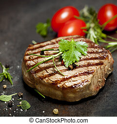 Grilled Steak with Herbs and Tomatoes - Grilled steak with...