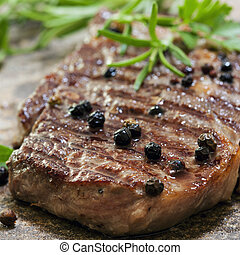 Grilled Steak with Peppercorns - Grilled pepper steak with...