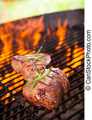 Grilled steaks - Beef steaks on grill
