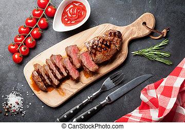 Grilled striploin steak - Grilled striploin sliced steak on ...