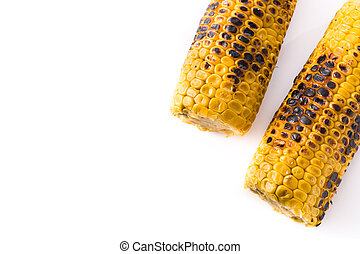 Grilled sweet corn isolated on white background