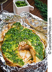 Grilled swordfish fillet with pesto