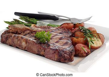 Grilled T-bone Steak - Grilled t-bone steak with rosemary...