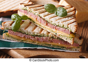 Grilled toast with ham and cheese closeup. horizontal