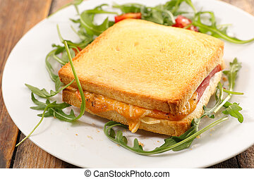 grilled toast with ham and cheese