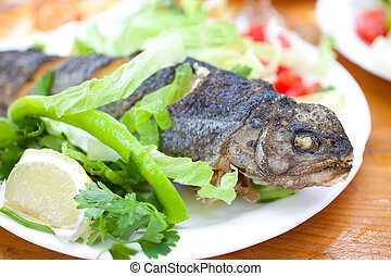 Grilled trout on white dish
