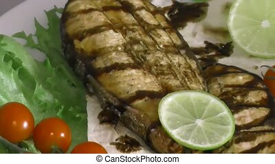 Grilled trout with fresh Greens and vegetables