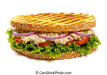 Tuna Panini Sandwich - Grilled Tuna Panini Sandwich on white...