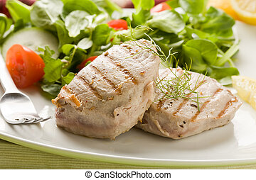 Grilled Tuna Steak with Salad - photo of grilled tuna steak...