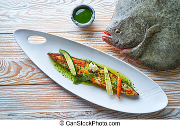 Grilled turbot over wild asparagus recipe