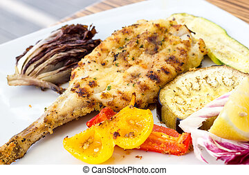 Grilled turbot with grilled vegetables