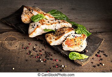 Grilled turkey fillet with appetizing roasted crust garnish...