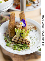 Grilled Turnip with Fried Tofu on Plate