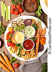 grilled vegetables and dips