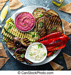 Grilled vegetables and hummus platter