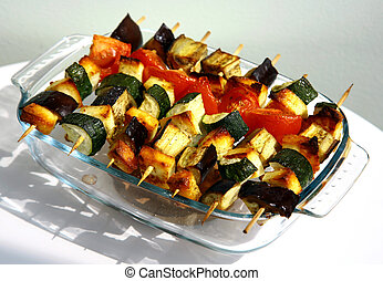 Grilled vegetables on wooden skewers