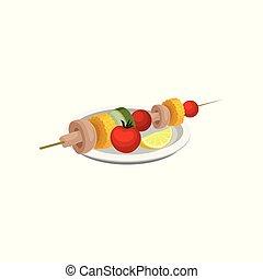 Grilled vegetables, vegan kebab, vegetarian food vector Illustration on a white background