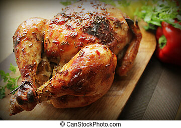 Grilled whole chicken with cumin seeds