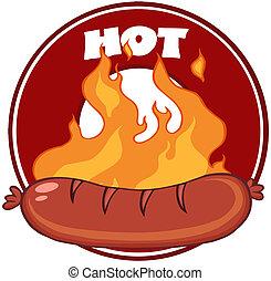 grilled, worst, spandoek, vlammen