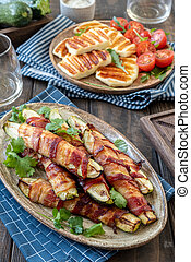 Grilled zucchini in a bacon