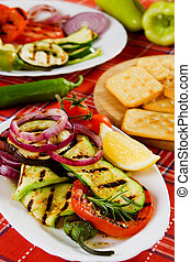 Grilled zucchini, tomato, onion and other vegetable