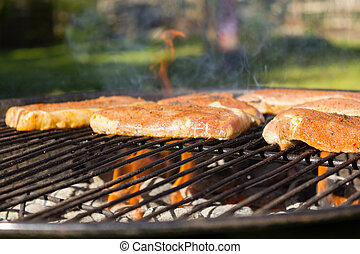 Grillen - barbecue  - Grillen im Somme, Grillfet im Garten.