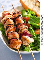 grillere kylling, og, salat
