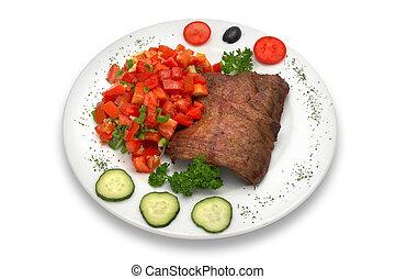 grillezett, borjúhús, filé, noha, növényi, saláta