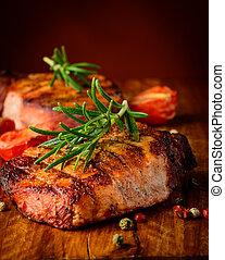 grillezett, hússzelet, closeup, részletez