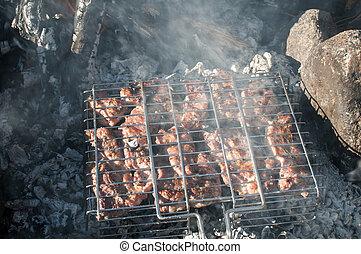 grillezett, kandalló, nyílik, hús