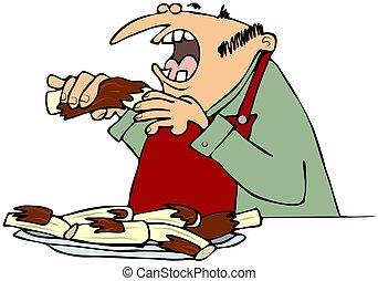 grillfest, rippen, essende, mann