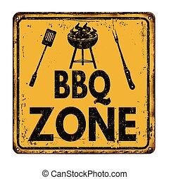 grillfest, zeichen, weinlese, rostiges metall, zone, bbq