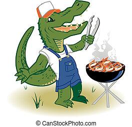 Grillin Country Gator - A backwoods alligator cooking shrimp...