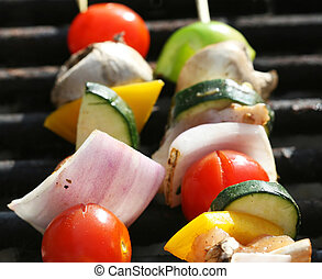 Grilling a kabob during a summer picnic at the park