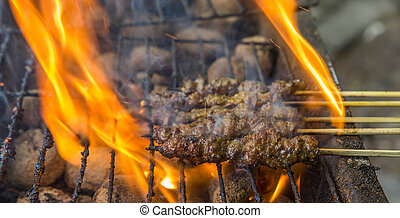 Grilling Beef Satay