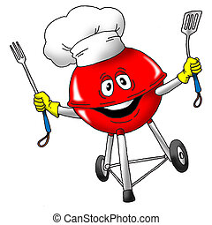 Grilling Chef - Image of an excited grill wearing a chefs...