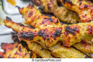 Grilling Chicken Satay - Chicken satay grilled